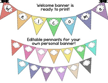 Back to School Pennant Banners - Chevron