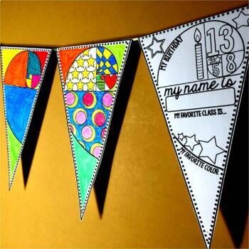 Back to School Math Pennant and Glyph Activity