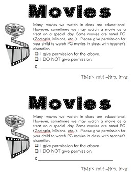 Back to School Permission Forms: Photos, Class Pet, Movies