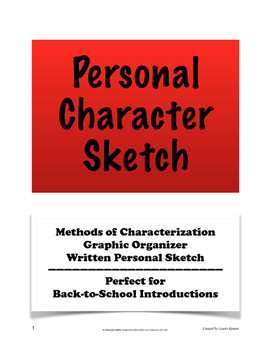 Personal Character Sketch Introduction; Characterization; Secondary ELA; BTS