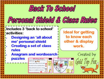 Back to School Personal Shield and Class Rules