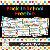 Back to School Personalized Treat for First Day - Add Own Name