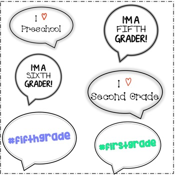 Back to School Photo Booth Speech Bubble Props (All Grades)