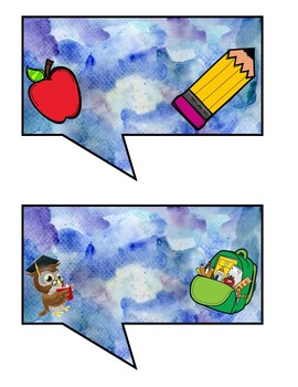 Back to School Photo Booth Props- Watercolor Backgrounds