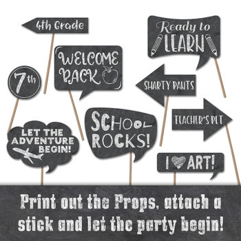Back To School Photo Booth Props And Decorations First Day Of