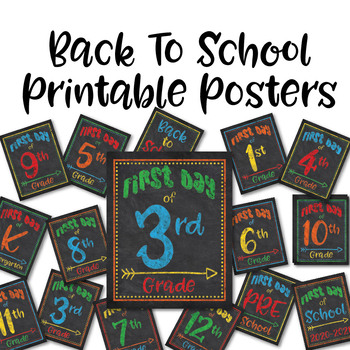 Back to School Photo Props - First Day of School - Preschool through 12th Grade