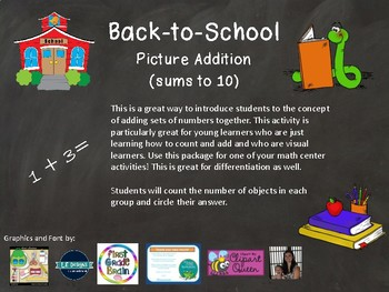Back to School Picture Addition (Sums to 10)