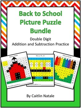 Back to School Picture Puzzle (Addition and Subtraction)