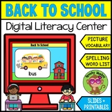 Back to School Picture Vocabulary : Word List, Spelling, L