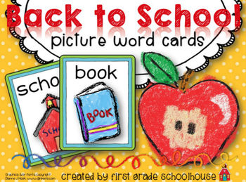 Back to School Picture Word Cards