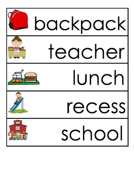 Back to School Picture and Word Cards
