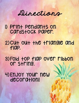 Back to School Pineapple Pennant Banner