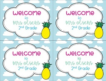 Back to School Pineapple Welcome Postcards from Teacher