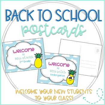 Back to School Pineapple Welcome Postcards from Teacher (Editable!)