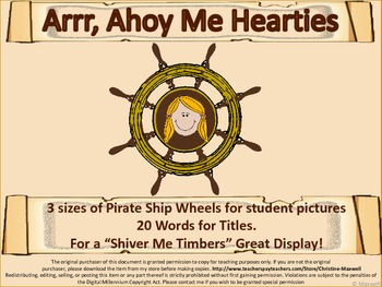 Pirate Ship Wheel Frame and Pirate Speak Scrolls