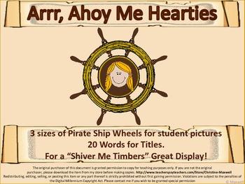 Pirate Ship Wheel Frame and Pirate Speak Scrolls
