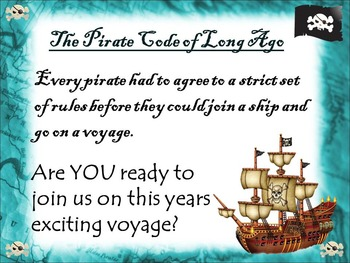 Back to School Editable Pirates Code of Standards and Expectations