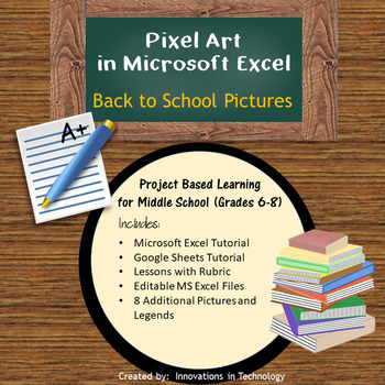 Back to School Pixel Art in Microsoft Excel or Google Sheets