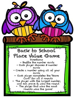 Back to School Place Value Game