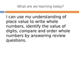 Back to School Place Value Review