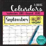 Back to School Planning Calendars Sept. 2019-Aug. 2020 with BONUS