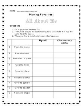 """Back-to-School """"Playing Favorites"""" Activity"""