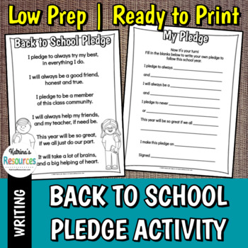 Back to School Pledge Activity for Classroom Community & Positive Behavior