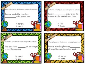 Back to School Plural Noun Task Cards (with QR Code Option)