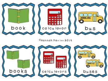 Back-to-School Plurals Match (SPAN/ENG BILINGUAL) *Aligned to CCSS*