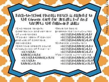 Back-to-School Plurals Match-SPANISH *Aligned to CCSS*