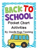 Back to School Pocket Chart Activities for 1st Grade/Kindergarten