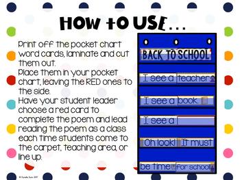 Back to School Pocket Chart Interactive Poem Freebie