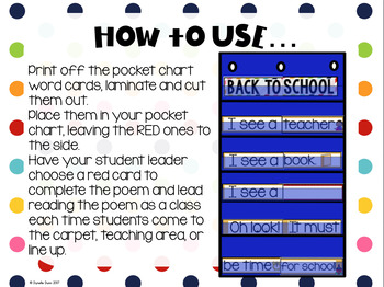 Back to School Pocket Chart Interactive Poems