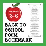 "Back to School Poem Bookmark: ""Welcome Back, Readers!"""