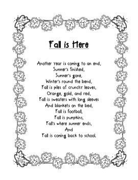 Back to School Poem: Fall is Here