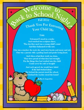 Back to School Night Cover Page