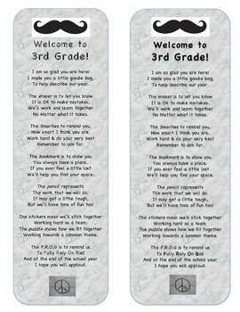 Back to School Poem - Mustache Theme