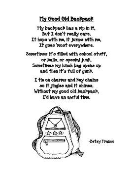 Back to School Poem: My Old Backpack