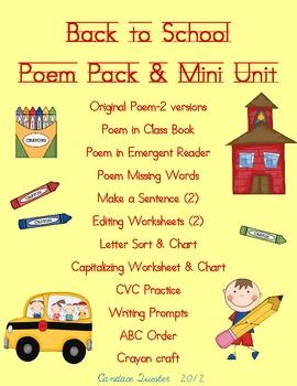 Back to School Poem Pack/Mini Unit