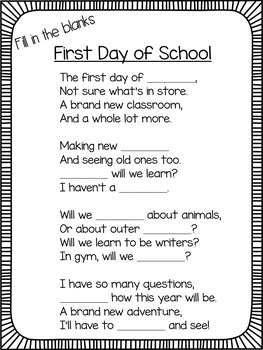 Back to School Poem and Activities
