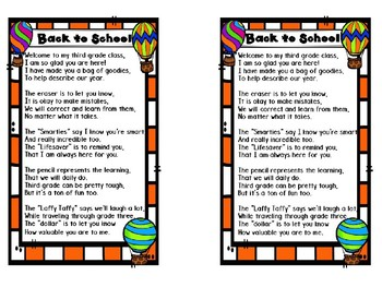 Back to School Poem for Sack - Hot Air Balloon Theme