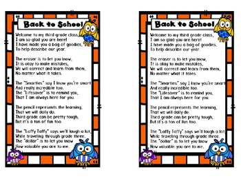 Back to School Poem for Sack - Owl Theme