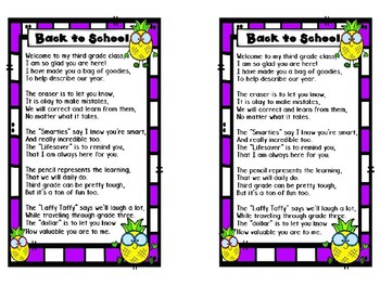 Back to School Poem for Sack - Pineapple Theme