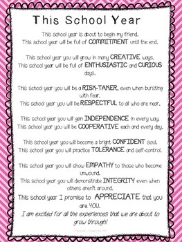 Back to School Poem with International Baccalaureate Attitudes