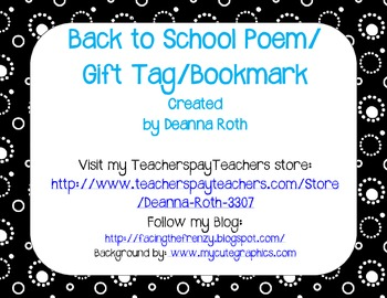 Back to School Poem/Tag/Bookmark--Black & White & Bright Owl Themed