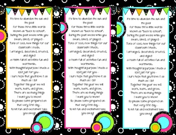 Back to School Poem/Tag/Bookmark--Black & White & Bright Themed
