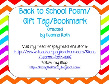 Back to School Poem/Tag/Bookmark--Cute Critters and Rainbow Chevron