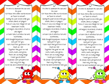 Back to School Poem/Tag/Bookmark--Cute Critters and Rainbo