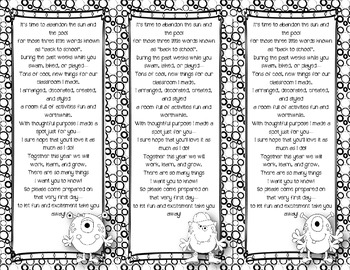 Back to School Poem/Tag/Bookmark--Monster Black & White Themed