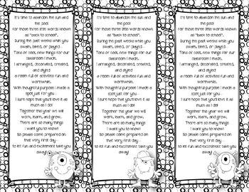 Back to School Poem/Tag/Bookmark--Monster Black & White Themed